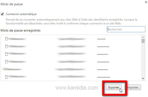 option exporter mots de passe Chrome