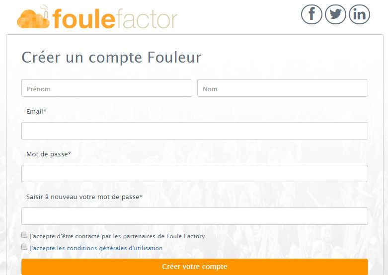 inscription foule factory