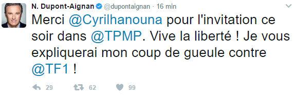 tweet dupont aignant tpmp